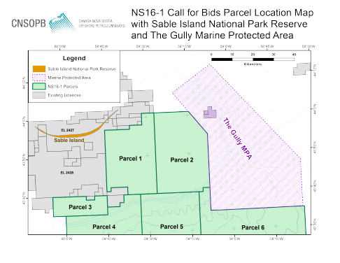 NS16-1 Call for Bids Parcel Location Map with Sable Island National Park Reserve and The Gully Marine Protected Area